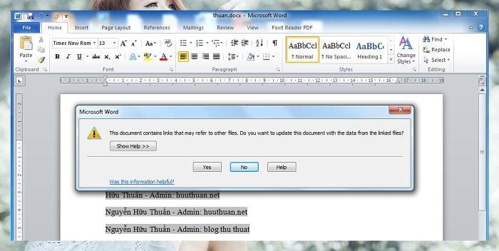 Cách liên kết dữ liệu word và excel thật là đơn giản dễ dàng 6