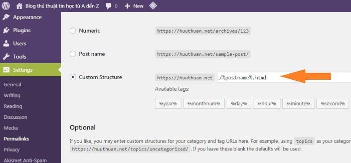 thêm đuôi html cho bài viết hoặc trang trong wordpress