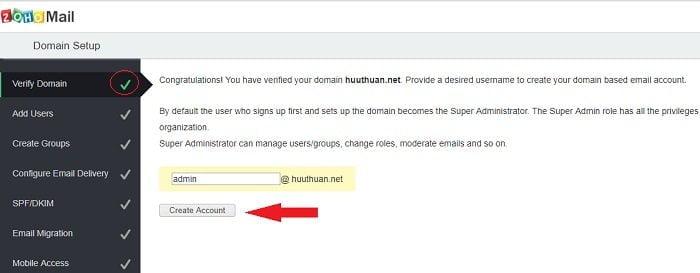 Cách tạo Email theo địa chỉ tên miền miễn phí từ Zoho 11