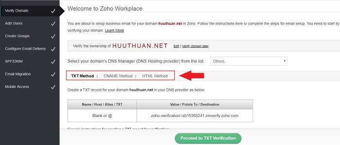Cách tạo Email theo địa chỉ tên miền miễn phí từ Zoho 8