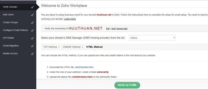 Cách tạo Email theo địa chỉ tên miền miễn phí từ Zoho 10