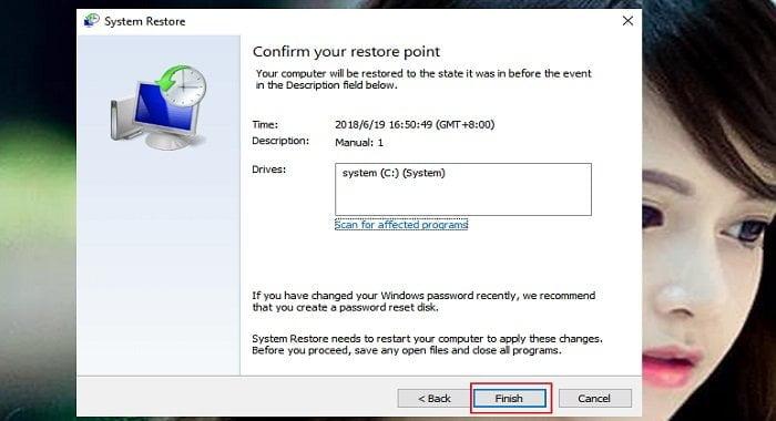 """Cách phục hồi hệ thống """"System Restore"""" trên windows 10 6"""
