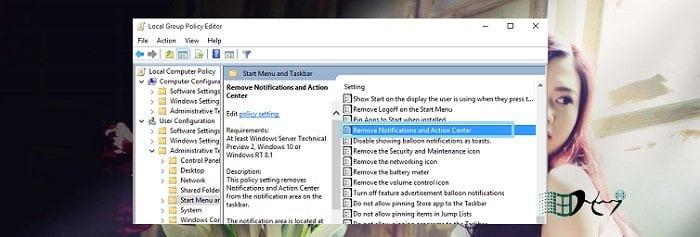 Vô hiệu tính năng thông báo Action Center trong Windows 10 9