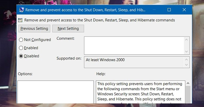 Sửa lỗi không xuất hiện Shut down, Restart, Sleep từ Windows 10 7