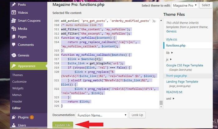 Cách thêm thuộc tính nofollow tự động cho link ngoài không Plugin 3