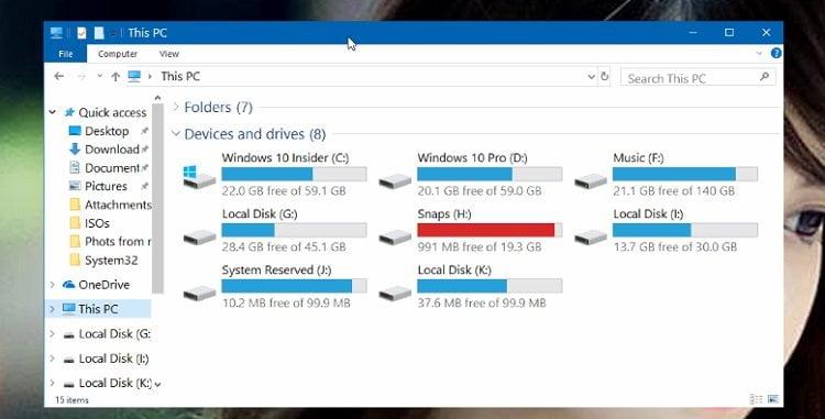 Thay đổi kích thước phông chữ trong trình quản lý tệp (File Explorer) Windows 10