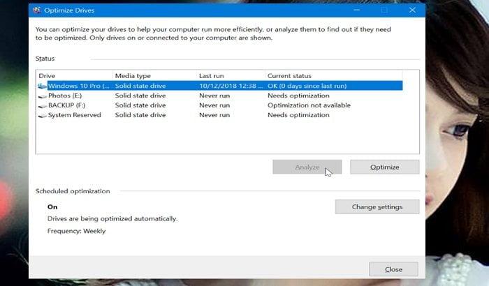 Cách tối ưu hóa ổ đĩa HDD hoặc SDD trong Windows 10 3