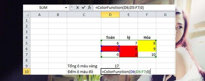 Cách tính tổng hoặc đếm các ô được tô màu trong Excel đơn giản 4