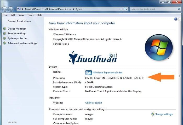 thông tin được ghi trên bộ vi xử lý Intel