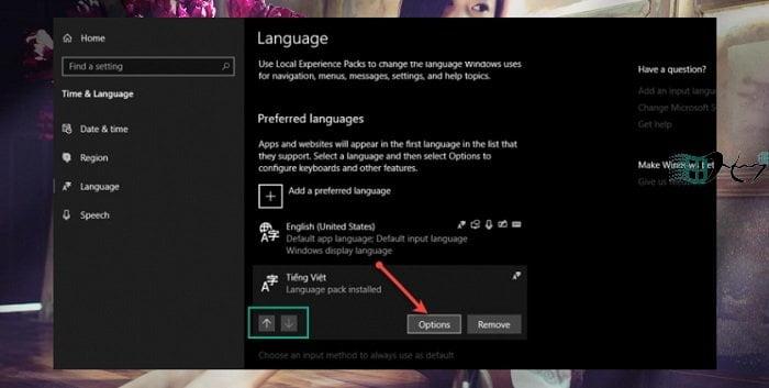 Sử dụng tiếng việt trên Windows 10 không cần cài đặt bộ gõ 7