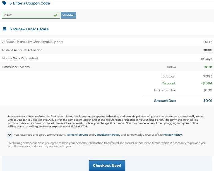 Coupon hostgator hosting giá 0.01$ không thể rẻ hơn 5