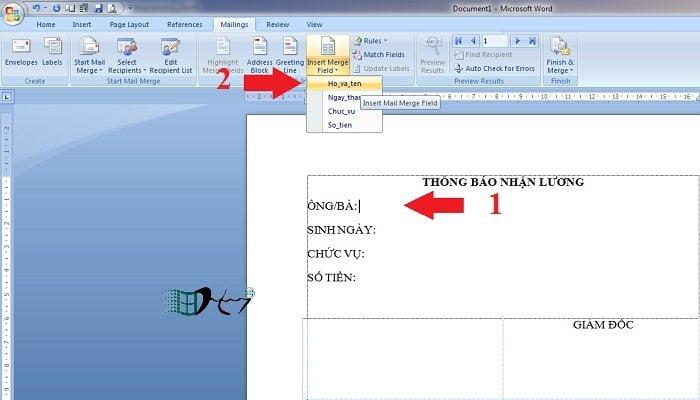 In hàng loạt trong Word với Mail Merge đơn giản nhất 3