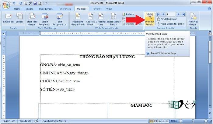 In hàng loạt trong Word với Mail Merge đơn giản nhất 5