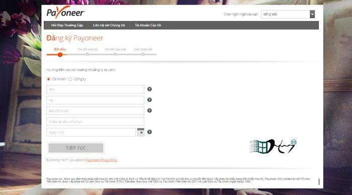 Cách đăng ký tài khoản Payoneer nhận 25$ miễn phí 2