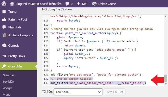 Lấy lại trình soạn thảo cũ Wordpress không dùng Plugin 2