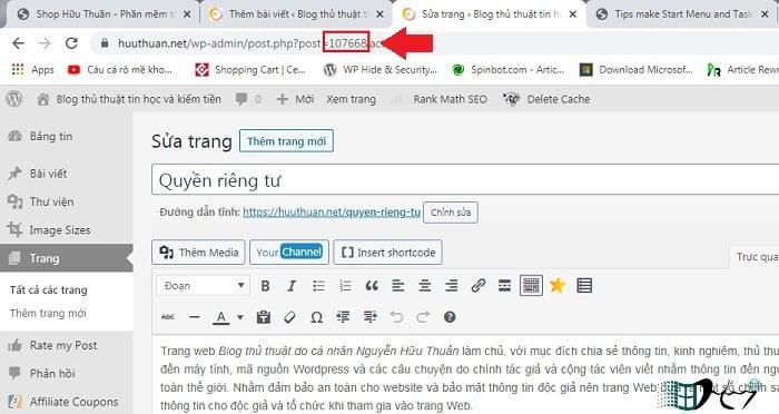 Cách tìm ID bài viết hoặc trang trong WordPress? 3