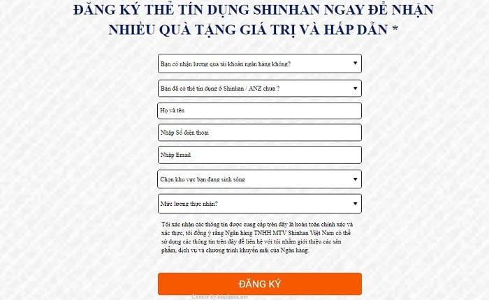 Mở thẻ tín dụng Shinhanbank Online