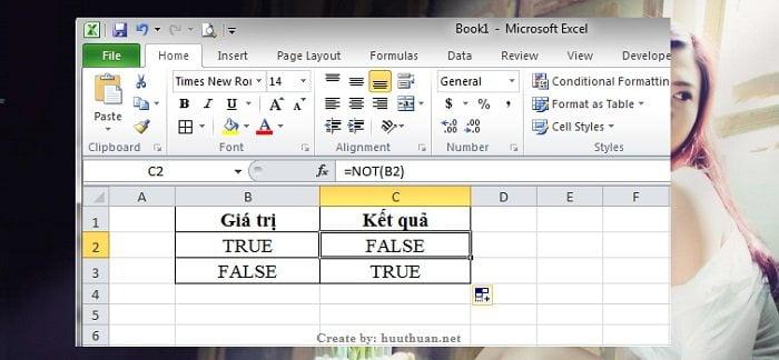 hàm Not trong Excel