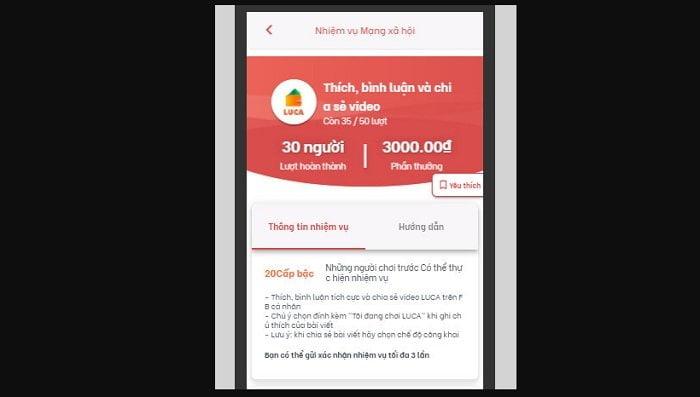 Kiếm tiền miễn phí uy tín với App Luca