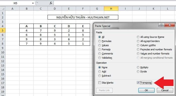 Mẹo chuyển hàng thành cột hoặc ngược lại trong Excel mới nhất 3