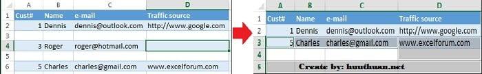 Mẹo xóa hoặc ẩn hàng trống trong Excel đơn giản 10
