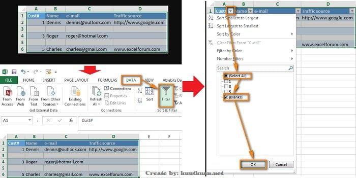 Mẹo xóa hoặc ẩn hàng trống trong Excel đơn giản 11