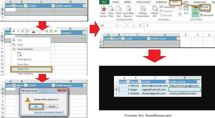 Mẹo xóa hoặc ẩn hàng trống trong Excel đơn giản 12