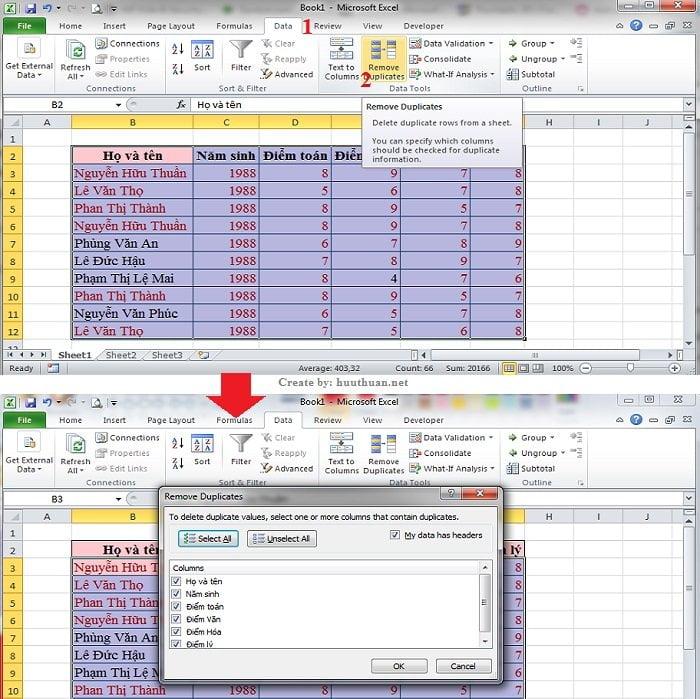 6 mẹo lọc dữ liệu trùng Excel chuẩn xác nhất 4