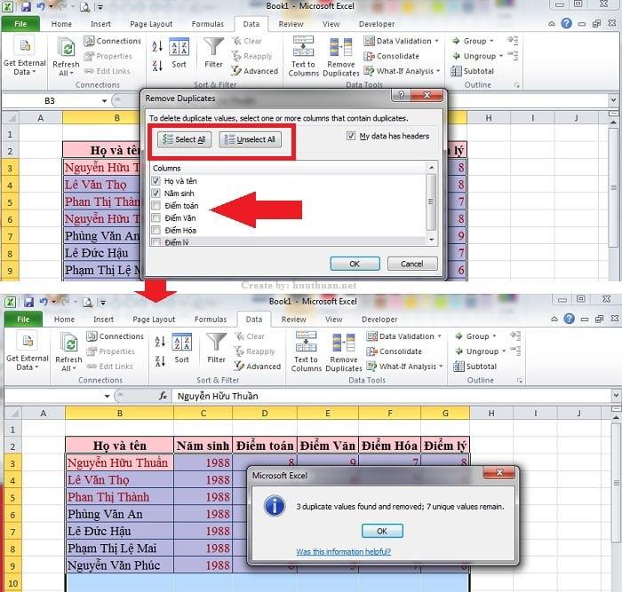 6 mẹo lọc dữ liệu trùng Excel chuẩn xác nhất 5