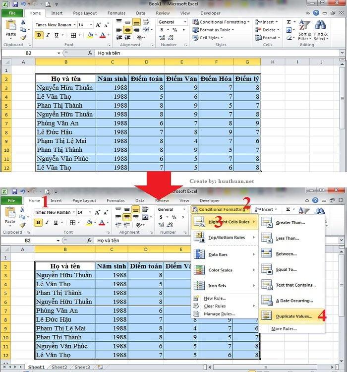 6 mẹo lọc dữ liệu trùng Excel