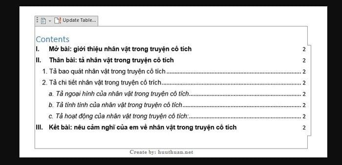 Mẹo tạo mục lục tự động Word đơn giản nhất 8