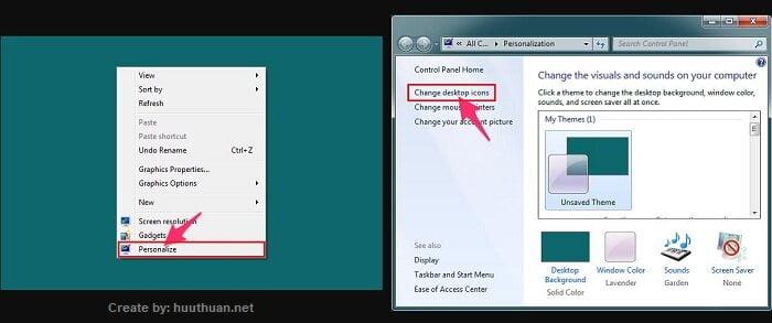 đưa My Computer, icon khác ra màn hình desktop