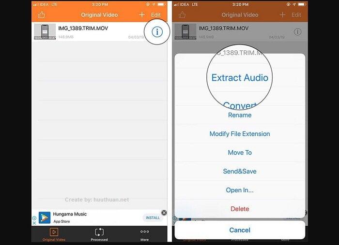 Mẹo tách, lấy nhạc từ video trên điện thoại iPhone 5