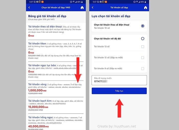 Cách chọn số tài khoản MB Bank trùng số điện thoại miễn phí 5