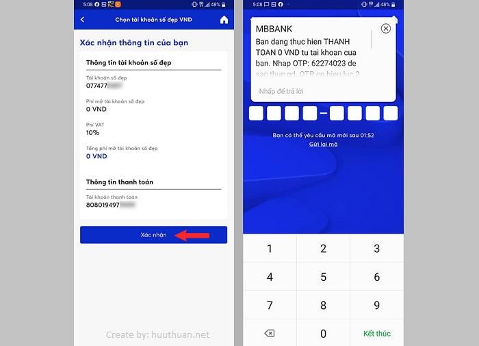 Cách chọn số tài khoản MB Bank trùng số điện thoại miễn phí 7