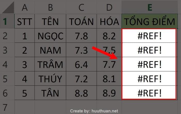 Cách sửa lỗi REF trong Excel chi tiết có video hướng dẫn 8