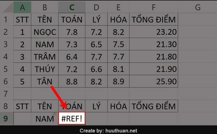 Cách sửa lỗi REF trong Excel chi tiết có video hướng dẫn 10