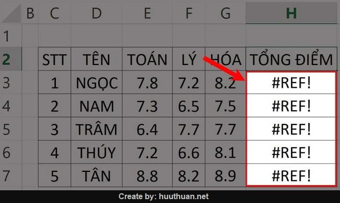 Cách sửa lỗi REF trong Excel chi tiết có video hướng dẫn 13