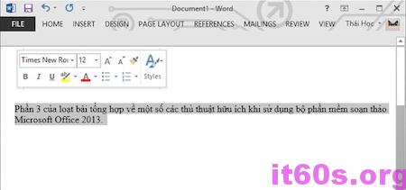 Thủ thuật vô hiệu hóa tính năng Mini Toolbar của word 2013