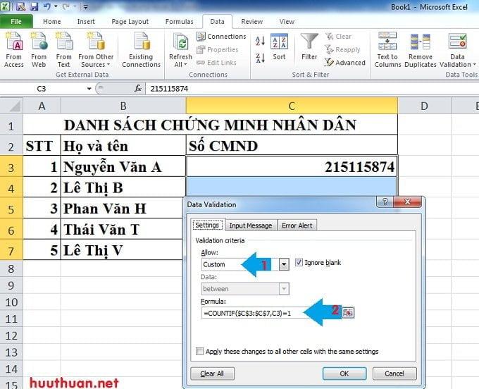 Cách tạo thông báo khi nhập dữ liệu trùng trong Microsoft Excel 2