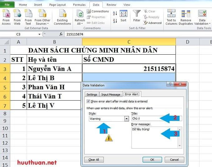 Cách tạo thông báo khi nhập dữ liệu trùng trong Microsoft Excel 3