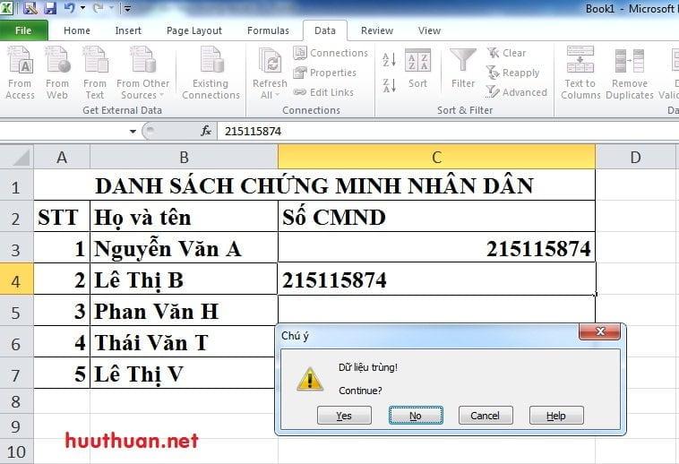 Cách tạo thông báo khi nhập dữ liệu trùng trong Microsoft Excel 4