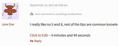 Cho phép chỉnh sửa bình luận sai trong WordPress