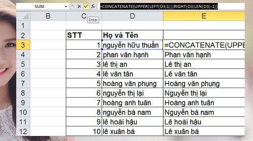 chuyển chữ thường sang hoa hoặc ngược lại trong Excel