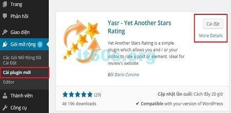 Plugin Yet Another Stars Rating giúp bạn đánh giá bài viết hoàn hảo