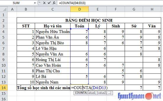 đếm dữ liệu khác rỗng trong Microsoft Excel đơn giản
