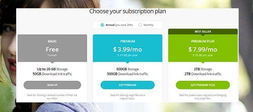 dịch vụ lưu trữ tập tin miễn phí lên đến 20GB