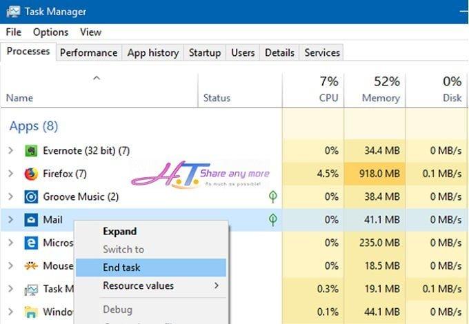 """2 cách đóng ứng dụng lỗi """"Not Responding"""" trong Windows 10 3"""