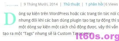 Tạo Drop cap cho bài viết wordpress không dùng Plugin