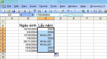 Khắc phục lỗi lấy năm bị lỗi trong Excel